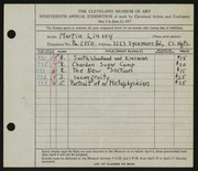 Entry card for Linsey, Martin  for the 1937 May Show.