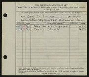 Entry card for Loesser, Jean B. for the 1937 May Show.