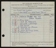Entry card for Lueke, Matha for the 1937 May Show.