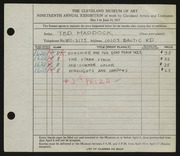 Entry card for Maddock, Ted for the 1937 May Show.