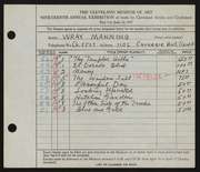 Entry card for Manning, Wray for the 1937 May Show.