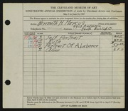 Entry card for Hugh, Kenneth Marcus for the 1937 May Show.