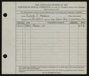 Entry card for Marsick, Evelyn F. for the 1937 May Show.