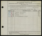 Entry card for McKecknie, Katherine for the 1937 May Show.