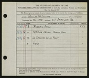 Entry card for McLelland, Ronalda for the 1937 May Show.