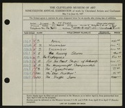 Entry card for McPhee, John B. for the 1937 May Show.