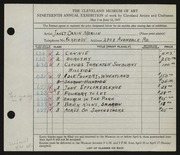 Entry card for Merlin, Janet Orkin for the 1937 May Show.