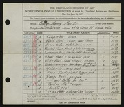 Entry card for Merz, George Henry for the 1937 May Show.