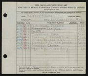 Entry card for Miller, Frederick Anson for the 1937 May Show.