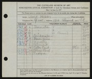 Entry card for Morris, Louise for the 1937 May Show.