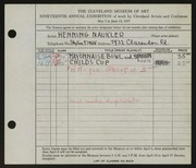 Entry card for Naukler, Henning for the 1937 May Show.