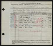 Entry card for Neufeld, Woldemar for the 1937 May Show.