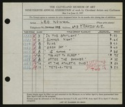 Entry card for Nowak, Leo for the 1937 May Show.