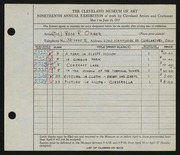 Entry card for Orner, Rose R. for the 1937 May Show.