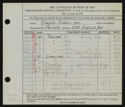 Entry card for Parade Studios, Inc., and Sage, Ruth; Sill, Henry for the 1937 May Show.