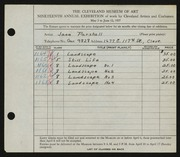 Entry card for Parshall, Harriet Jane for the 1937 May Show.