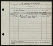 Entry card for Pfenninger, Anna for the 1937 May Show.