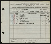 Entry card for Prentke, Edwin M. for the 1937 May Show.