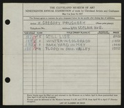 Entry card for Prusheck, Harvey Gregory for the 1937 May Show.