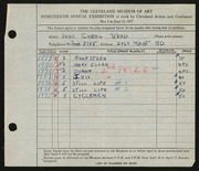 Entry card for Reed, Jane Carol for the 1937 May Show.