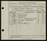 Entry card for Remley, Mary Dirks for the 1937 May Show.
