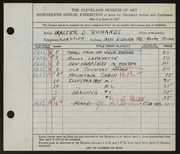 Entry card for Richards, Walter Dubois for the 1937 May Show.