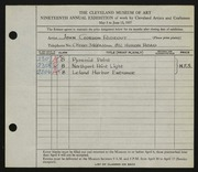 Entry card for Rideout, John Gordon for the 1937 May Show.