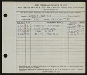 Entry card for Roether, George for the 1937 May Show.