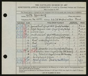 Entry card for Rosenberg, Yetta, and Dyer, Nora E. for the 1937 May Show.
