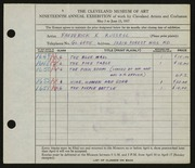 Entry card for Russell, Frederick K. for the 1937 May Show.