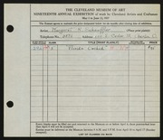 Entry card for Schauffler, Margaret Reynolds for the 1937 May Show.