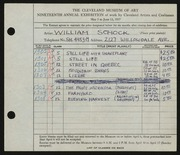 Entry card for Schock, William for the 1937 May Show.