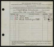 Entry card for Schoenberger, Edward William for the 1937 May Show.