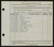 Entry card for Schoenberger, Robert E. for the 1937 May Show.