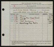 Entry card for Shaw, Elsa Vick for the 1937 May Show.