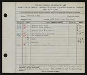 Entry card for Shea, Catherine C. for the 1937 May Show.