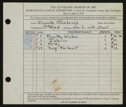 Entry card for Stambaugh, Elizabeth for the 1937 May Show.