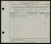 Entry card for Stitt, Margaret L., and Stitt, Mary McKee for the 1937 May Show.