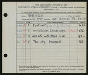 Entry card for Stoll, Rolf for the 1937 May Show.