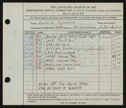Entry card for Sylvester, Dominick, and Kraft, Allison A.; James, Frank G. for the 1937 May Show.