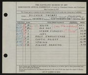 Entry card for Thomas, Dillwyn for the 1937 May Show.