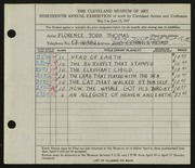 Entry card for Thomas, Florence Todd for the 1937 May Show.