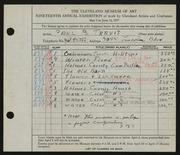 Entry card for Travis, Paul Bough for the 1937 May Show.