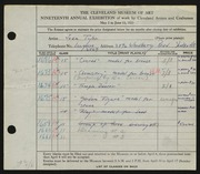 Entry card for Tyler, Jean for the 1937 May Show.