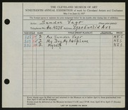 Entry card for Vago, Sandor for the 1937 May Show.