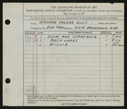 Entry card for Vander Sluis, George for the 1937 May Show.