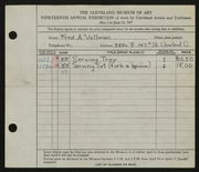 Entry card for Vollman, Fred Anthony for the 1937 May Show.