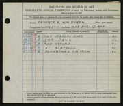 Entry card for Duren, Terence R. for the 1937 May Show.