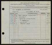 Entry card for Wagner, Elberta M. for the 1937 May Show.