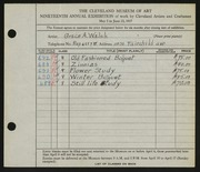 Entry card for Walsh, Grace for the 1937 May Show.